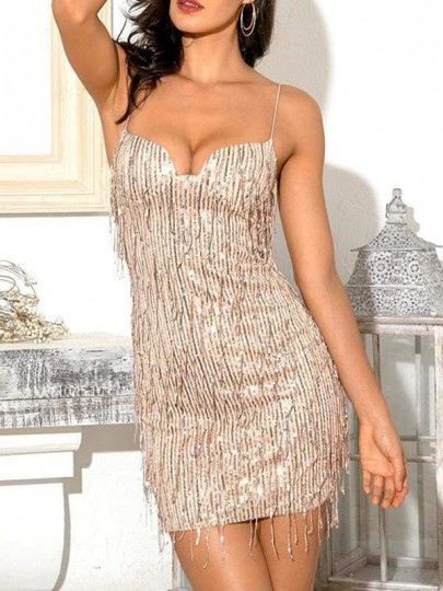 Champagne Tassel Glitter Sparkly Spaghetti Strap Bodycon Mini Dress