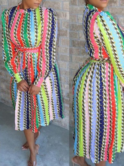 Pink Rainbow Striped Belt Pleated Long Sleeve Homecoming Party Midi Dress