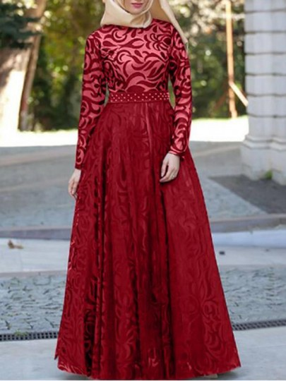 Burgundy Patchwork Lace Grenadine High Waisted Elegant Banquet Party Maxi Dress