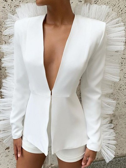 White Ruffle Two Piece V-neck Elegant Party Short Jumpsuit