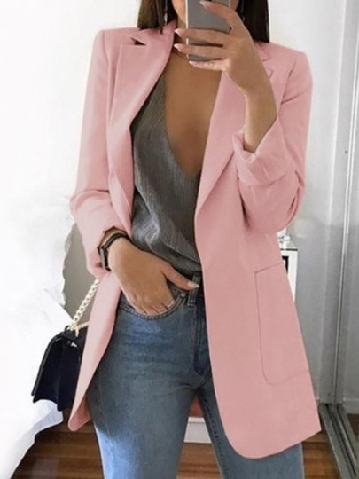 Pink Pockets Tailored Collar Long Sleeve Casual Work Blazer Suit