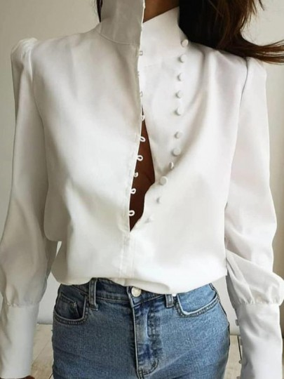 White Single Breasted Band Collar Long Sleeve Elegant Blouse