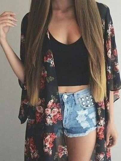 Black Floral Print V-neck Chiffon Fashion Casual Sun Protection Summer Outerwear