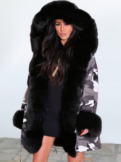 Camouflage Patchwork Fur Hooded Long Sleeve Fashion Padded Coat