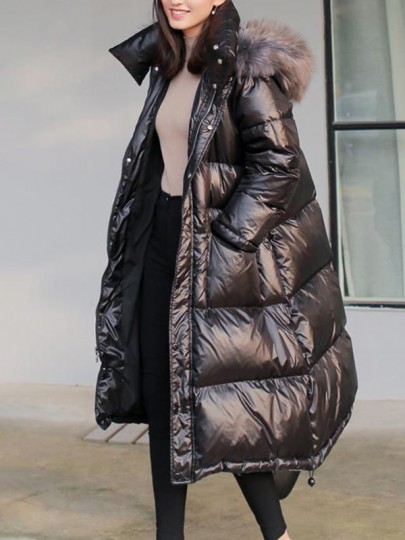 Black Patchwork Zipper Pockets Comfy Oversize Hooded Fashion Outerwear