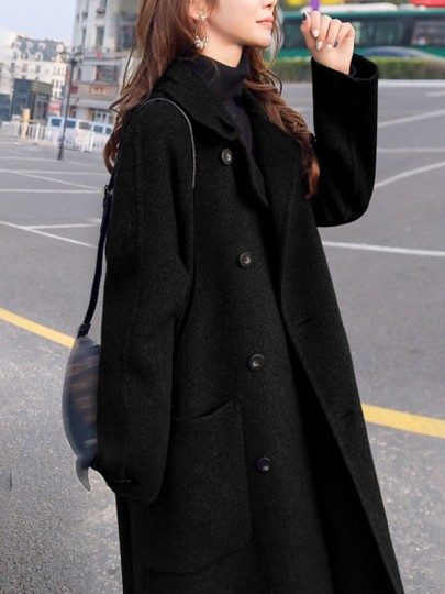 Black Patchwork Single Breasted Oversize Turndown Collar Fashion Outerwear