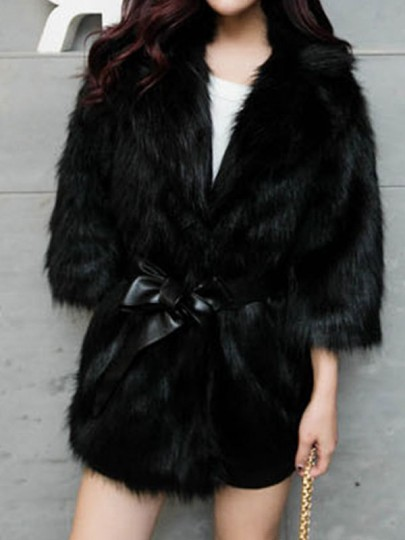 Black Patchwork Belt Turndown Collar Long Sleeve Modern Fur Coat