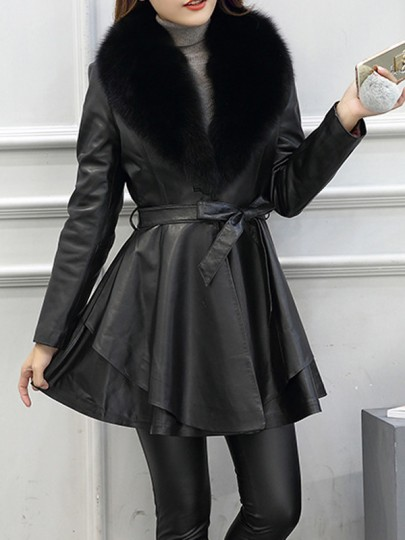 Black Patchwork PU Leather Sashes Pockets Fur Collar Long Sleeve Coat