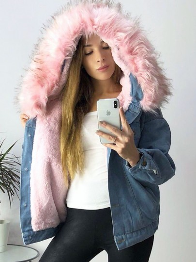 Blue Pink Faux Fur Pockets Buttons Hooded Long Sleeve Jeans Coats