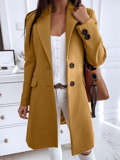 Yellow Button Turndown Collar Long Sleeve Elegant Wool Coat