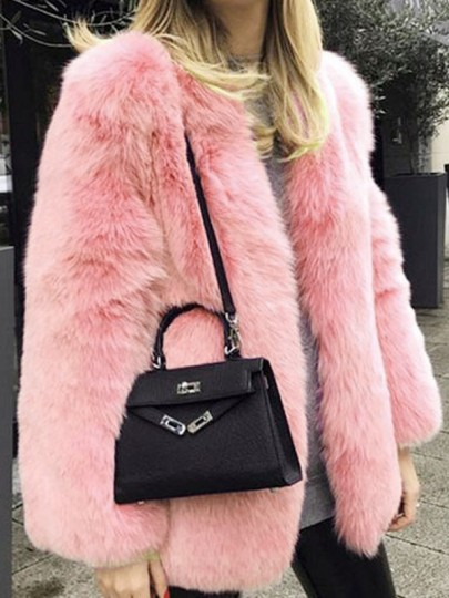 Pink Faux Fur Furzzy Round Neck Long Sleeve Elegant Cardigan Coat