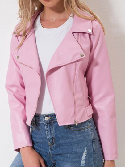 Pink Pocket Zipper Turndown Collar PU Leather Long Sleeve Coat
