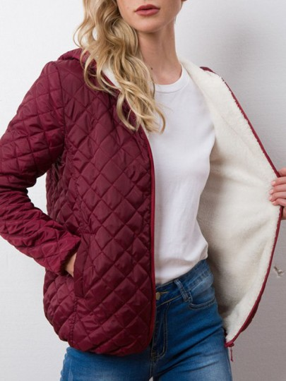 Wine Red Pocket Zipper Hooded Long Sleeve Fashion Padded Coat