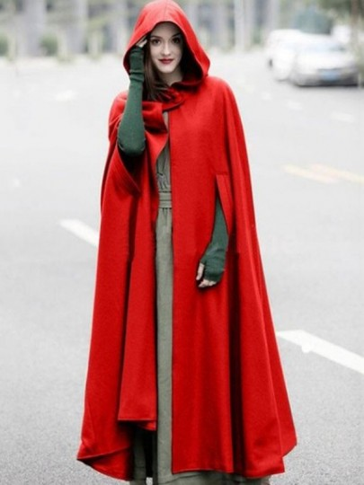Red Lace-up Flowy Elegant Hooded Cape Wool Coat