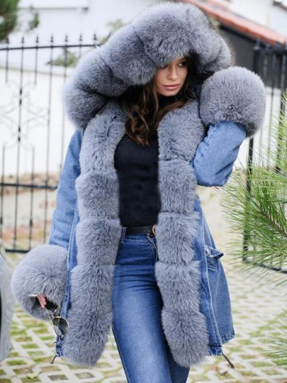 Grey-Blue Patchwork Faux Fur Bubble Hooded Pockets Long Sleeve Fatigue Parka Coat