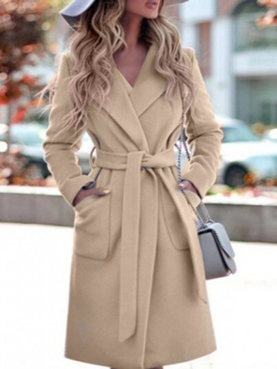 Khaki Sashe Pocket Turndown Collar Long Sleeve Elegant Wool Coat