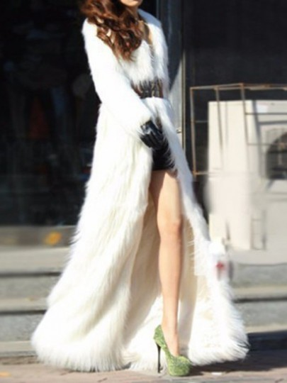 White Faux Fur Turndown Collar Long Sleeve Elegant Long Outerwear