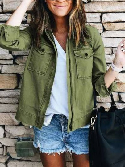 Green Patchwork Buttons Pockets Comfy Long Sleeve Fashion Outerwear