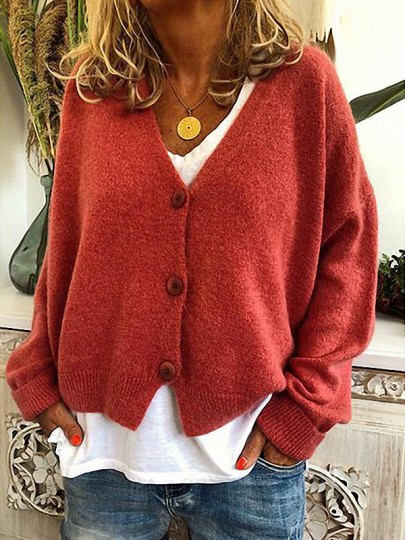 Red Patchwork Buttons Bodycon Comfy V-neck Going out Sweater