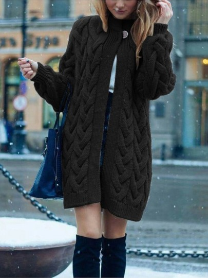 Black Patchwork Buttons oversize Long Sleeve Fashion Cardigan Sweater