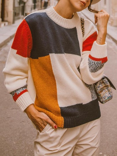 White Color Block Print Long Sleeve U-neck Fashion Pullover Sweater