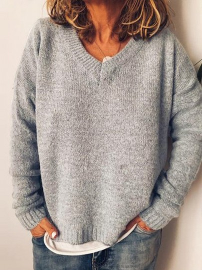Grey V-neck Long Sleeve Oversize Fashion Pullover Sweater
