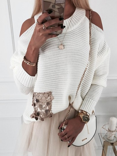 White Patchwork Sequin Cut Out Bodycon Fashion Sweater
