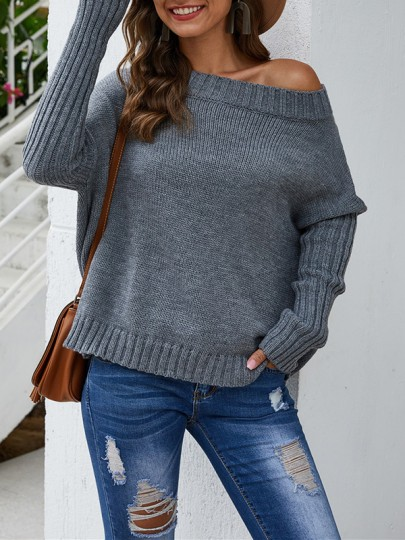 Grey Bodycon Comfy Off Shoulder Long Sleeve Going out Sweater