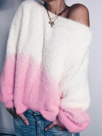 Pink White Patchwork Asymmetric Shoulder Long Sleeve Oversize Fashion Pullover Sweater