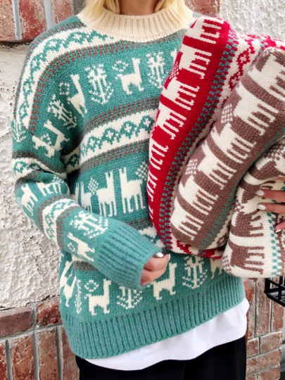 Green Christmas Print Round Neck Long Sleeve Pullover Sweater