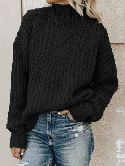 Black High Neck Long Sleeve Oversize Fashion Pullover Sweater