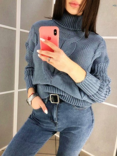 Grey High Neck Long Sleeve Oversize Pullover Fashion Sweater