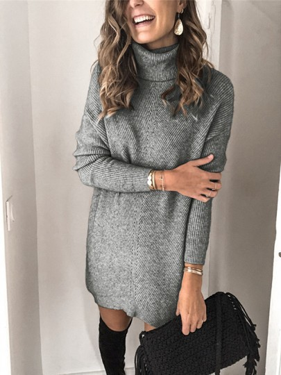 Grey Patchwork Print Oversize High Neck Long Sleeve Fashion Pullover Sweater