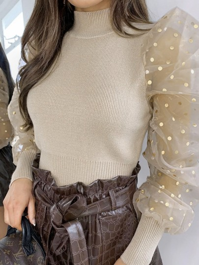 Apricot Patchwork Polka Dot Sequin High Neck Puff Sleeve Slim Fashion Sweater Pullover