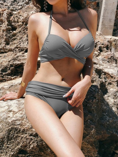 Dark Grey 2-in-1 Tie Back Halter Neck Backless Fashion Bikini Swimwear