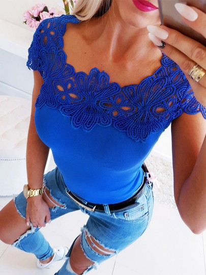 Blue Lace Patchwork Fashion Comfy Going out Round Neck T-Shirt