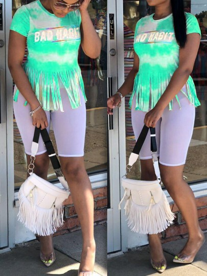 "Green Tie Dyeing ""BAD HABIT"" Tassel Round Neck Short Sleeve Casual T-Shirt"