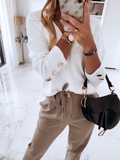 White Patchwork Buttons Bodycon Comfy V-neck Going out T-Shirt