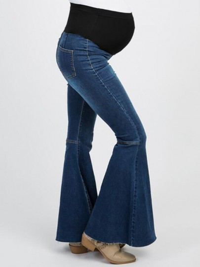Dark Blue Patchwork Draped High Waisted Flare Bell Bottom Gender Reveal Maternity Jeans