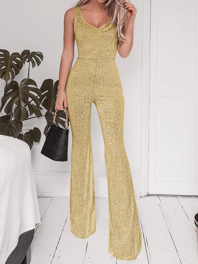 Golden Backless Flare Bell Bottom High Waisted Fashion Long Jumpsuit