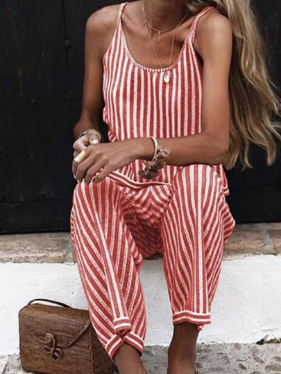 Red White Striped Pattern One Piece Fashion Long Jumpsuit