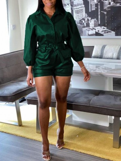 Dark Green Single Breasted Pockets PU Leather Latex Two Piece Casual Short Jumpsuit