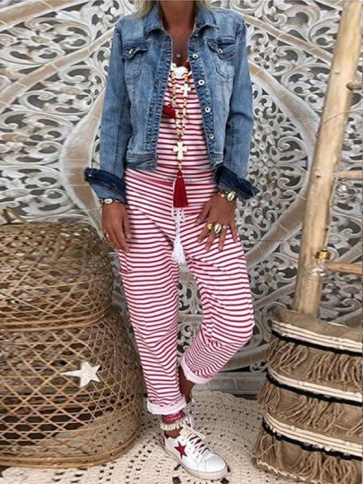 Red Striped Print Drawstring High Waisted Fashion Long Jumpsuit