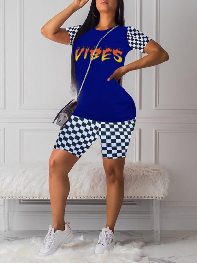 "Blue Flame Letter ""VIBES"" Print Round Neck Plaid Short Sleeve Two Piece Plaid Short Casual Jumpsuit"
