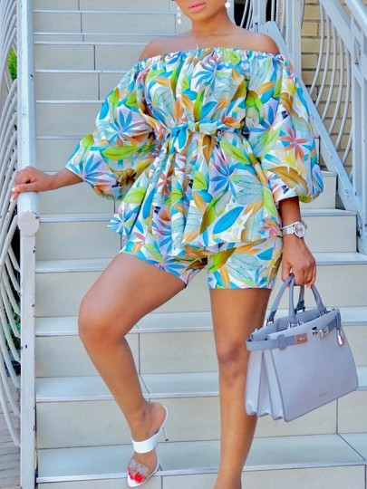 Green Floral Off Shoulder Pleated Two Piece Bohemian Short Jumpsuit