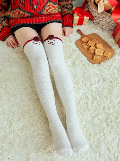 White Snowman Pattern Christmas Santa Claus Fluffy Cute Legging