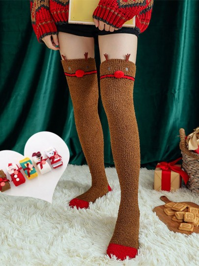 Brown Patchwork Elk Pattern Christmas Santa Print Cute Legging