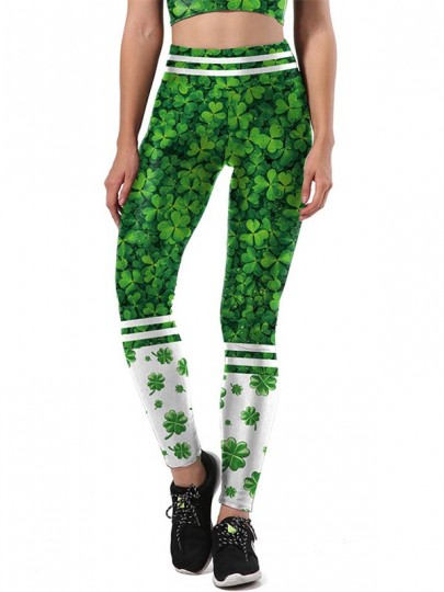 Green Four Leaf Clover Print Shamrock Workout Socks Yoga Sports St. Patrick's Day Legging
