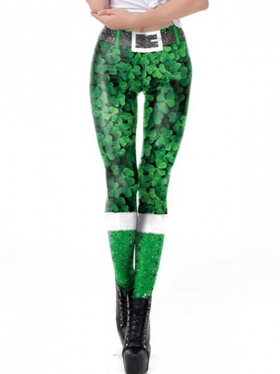 Green Clover Print St Patrick's Day Sports Yoga Long Pant
