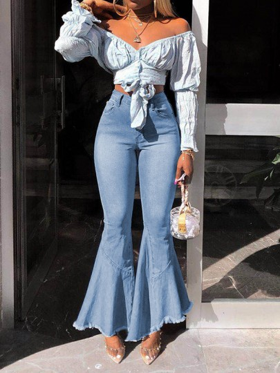 Light Blue Pockets Buttons High Waisted Cropped Big Flare Bell Bottom Long Jeans Pants